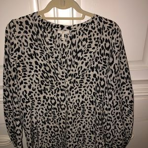 Joie silk blouse white with black cheetah print